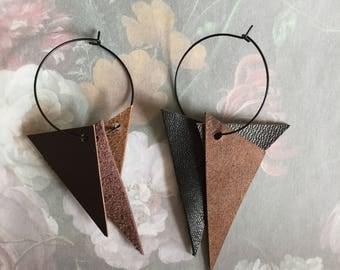 black 30mm hoop leather earrings - boho brown genuine leather triangle dangling hoop earrings - tribal brown leather earrings - gift for her