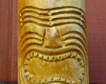 Vintage Handcarved Wooden Tiki Mug Hawaiian Monkey Pod Polynesian Tropical Carving
