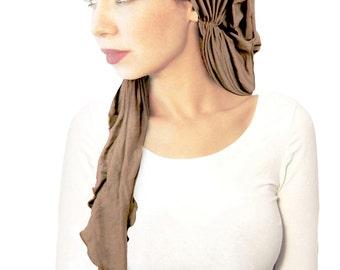 Beige Taupe Headscarf Tichel Clay Neutral Champagne Pink Fuchsia Soft Boho Chic Versatile Hair Snood Chemo Hat Cap Turban Black White