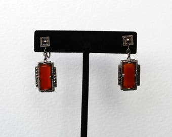 Vintage Art Deco Sterling Silver Marcasite and Carnelian Drop Earrings