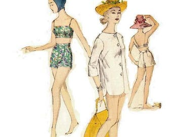 1950s Misses Swimsuit Pattern, Bathing Suit Pattern, Beach Wear, Cover Up, Bust 34, Size 14, Vogue 9723, Vintage Sewing Pattern