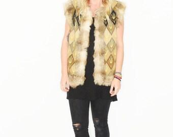 Vintage 70s Embroidered Ethnic Fur Vest , Suede Embroidered Gilet , BOHO Hippie Vest