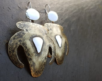 Shoulders of Stone - Oxidized brass and polishe silver earings. From the Sand Snake and the Bull: A Gobekli Tepe myth of The Third Day
