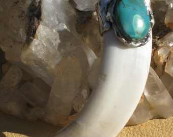 Primitive...3 1/2 Inch Boars Tooth Pendant with Greenish Turquoise. Southwestern Jewelry. Native American Jewelry. Hunters Jewelry.