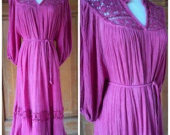 Vintage 70s Hippie Gauze Peasant Dress Crochet Ribbon Tiers Bell Sleeves 1970s Tent Dress Belted OS Plus Size Dress up to 48 B
