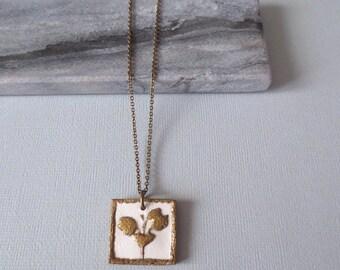 Botanical - Flower Print Pendant Necklace; Brass and Handpainted Cream Ceramic Feminine Clay Square Pendant (Pendentif Fleur) by InfinEight