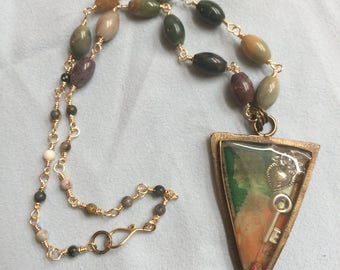 Brass triangle bezel,resin filled pendant,French stamps,winged heart charm, key charm,handmade rosary chain,Jasper beads,brass beaded chain