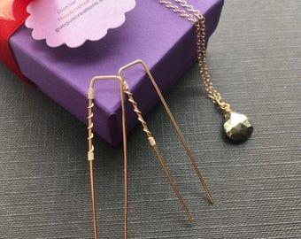 Gold Wire Earrings, Gold Hoop Earrings, Gold Filled Earrings, Modern Jewelry, Funky Earrings, Gold Edgy Earrings