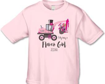 Flower Girl Gift, Little Miss  Bulldozer, Personalized Bridal Party Gift, Create a Matching Flower Girl, Ring Bearer Shirt Set, Wedding Gift