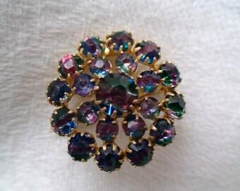 Edwardian Rainbow Quartz Iris Glass Brooch -- Treasury Item