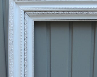9 x 12 White Picture Frames / Wood Picture Frame / Frame with Glass / Shabby Chic Frame / White Floral Frame / Cottage Chic Frame