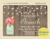 Brunch wedding invitation, newlyweds morning after brunch, bridal shower brunch, rustic twinkle lights barnwood invite, printable or printed