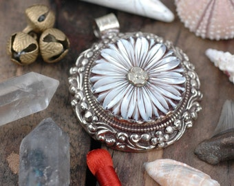 "Fresh as a Daisy Pendant, Carved Mother of Pearl Pendant, Silver Bezel, Boho,Zen,Spiritual, Yoga Inspired Jewelry Making Supply, 2 1/4"", 1pc"