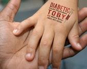 Medical Alert Tattoo, Diabetic Tattoos, ICE Tattoo, Insulin Tattoo,  Emergency Tattoo, Kids Safety, Fake Tattoo, Insulin Dependent, Medicine