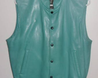 Vintage Roots Vest - Turquoise Leather Vest, 4 Pockets, Turquoise Rib Knit Waist, Snap Closures, Medium Size, Made in Canada