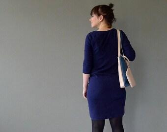 Two tone tote bag / medium shopper - dark petrol & nude leather - color block