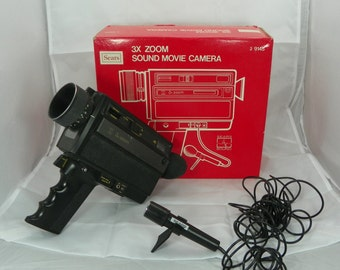 1960s Super 8 Movie Camera by Sears Roebuck 3X Zoom Sound Home Movies VINTAGE Microphone and Accessories Indie Film Maker Fun Free Shipping