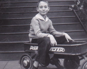 Boy in Red Wagon- 1940s Vintage Photograph- Radio Flyer Wagon- 40s Childhood- Child with Toy- Found Photo- Snapshot- Paper Ephemera