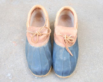 Vintage Mens 11 Eddie Bauer Slip On Rain Shoes Snow Boots Boot Waterproof Rubber Leather Ankle Bootie Hiking Hiker Duck Ducky Duckie Spring