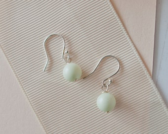 Green Drop Earrings, Green Bridesmaid Earrings, Green Pearl Earrings, Green Earrings, Green Pastel Wedding, Green Bridesmaid Jewellery