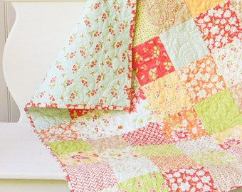 Coney Island Baby Girl Quilt - Small Lap Quilt - READY TO SHIP - Handmade Quilt