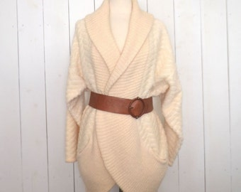 Wool Sweater Coat - 1980s Cream Mohair Wool Blend Vintage Wrap Sweater - Oversized Slouchy Fit Jacket - Large L
