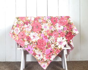 """Pink Floral Tablecloth 1960s Mid Century Long Rectangle Vintage Woven Cotton Linen Table Cover 84 x 57"""""""
