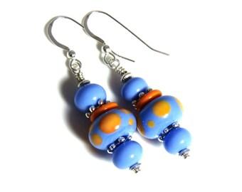 Blue & Orange Polka Dot Lampwork Earrings, Blue Earrings, Orange Lampwork, Orange Earrings, Blue Lampwork, Lampwork Jewelry, Sterling Silver