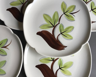 Vintage Woodleaf Continental Kilns Salad Plates Hand Painted Brown Branch & Green Leaves Made USA Chester WV Set 5 Free Shipping - #D2294