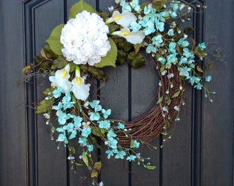 Spring Wreath-Summer Wreath-Floral White Branches-Door Wreath-Grapevine Wreath Decor-Aqua-Lilies-Wispy-Easter-Mothers Day-Indoor/Outdoor