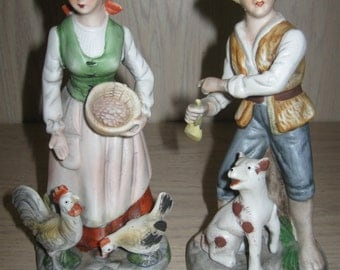 Figurine Statue Bisque Porcelain Peasant Couple Lady With Chickens Man With Dog