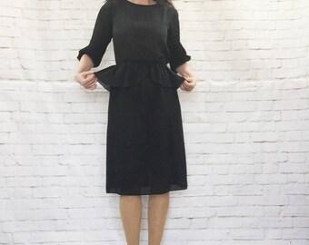 Vintage 80s Sheer Black Peplum Ruffle Midi Dress S Pleated Balloon Sleeve Knee Length Retro 40s