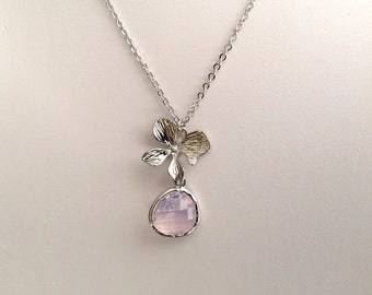 Flower and Moonstone Necklace in Silver. Opal Necklace. Sterling Silver.White Opal.Orchid.Moonstone.Bridesmaids Necklace.Wedding.Bridal Gift