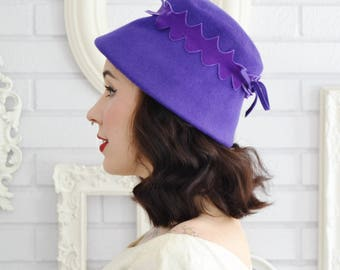 Vintage 1960s Purple Wool Felt Hat with Velvet Adornment by Neumann-Endler