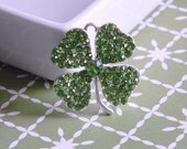 St. Patty's Day Shamrock Rhinestone Pendant Bubble Necklace Key Chain Zipper Pull Jewelry Holiday Ornament Luck of the Irish Green Clover