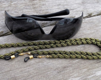 "Men's Eyeglass Holder - 28.5"" Beaded Rope Eyeglass Leash - Extra Sturdy Design - Olive Green with Bronze - Woven Beaded Beadwork - For Him"