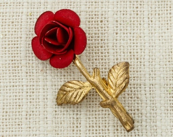 Red Rose Brooch Vintage Gold Small Etched 1920s 20s Broach Costume Jewelry   Vtg Pin 16E