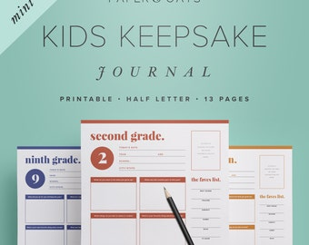 Mini Kids Keepsake Journal – Printable Birthday Interview Questions for Children, Childhood Memories, Yearly Annual Diary  /  PDF Printables