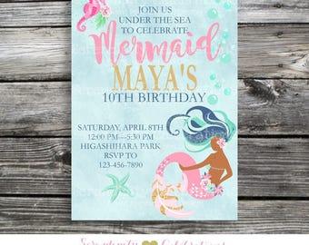 Mermaid Birthday Invitation, Mermaid Invitation, Mermaid Party, Mermaid Baby Shower Invite, Under the Sea, Mermaid Invitation, Bridal Shower