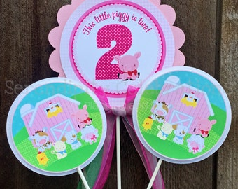 3 piece centerpiece set, Farm centerpiece, Farm Animals Centerpiece Set, Birthday Party Centerpiece, Baby Shower Centerpiece, personalized