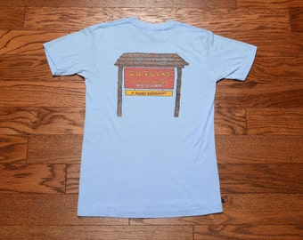 vintage 70s Po Folks shirt soft thin burnout 1970 t-shirt Family Restaurant PoFolks Anderson SC South Carolina S small