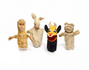 vintage 40s 50s hand puppet collection bull rabbit monkey tabby cat tiger 1940 1950 toy stuff animal Steiff felt mohair excelsior