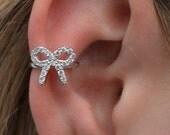 CZ Bow Ear Cuff- Sterling Silver- No Piercing