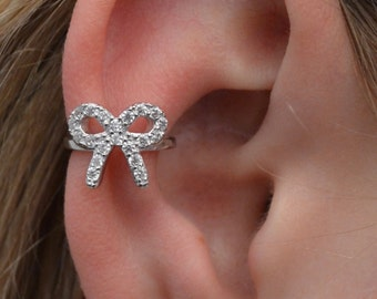 CZ Bow Ear Cuff- Sterling Silver- No Piercing