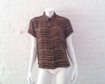 Black Silk Striped Shirt 80s Vintage Tan Beige Short Sleeve Blouse Jones New York 10 Medium Large Boxy Cropped Office Wear Dress Shirt 90s