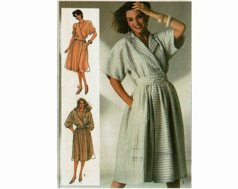 Mock Wrap Dress Kimono Sleeves and Full Skirt 1980s UNCUT Sewing Pattern Size 10 12 14 Bust  32 1/2 34 36 Simplicity 7275 80s dress Misses