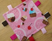 Cupcake Crinkle Square with light pink minky back Tag toy Ribbon Toy