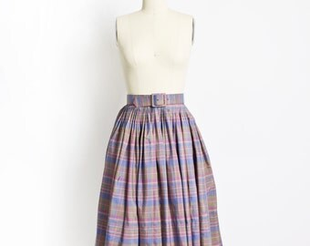 Vintage 50s Skirt - Silk Plaid Purple Pastel High Waist Full Skirt 1950s - Small S