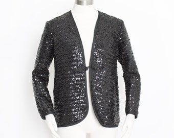 Vintage 60s Sequin Cardigan - Black Embellished Jacket 1960s - Large / Medium