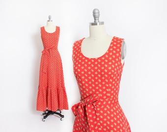 Vintage 1970s Dress - Coral Cotton Floral Calico Prairie Maxi Full Length Boho Dress - Small
